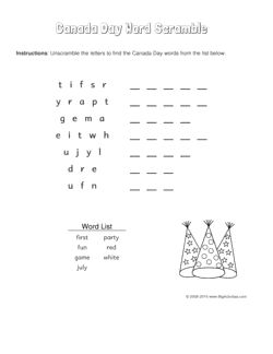 Canada Day word scramble with party hats. 4 levels of difficulty. Scrambled words change each time you visit