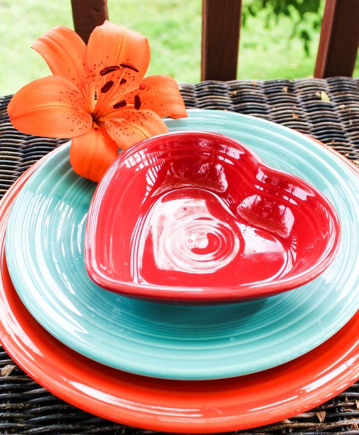 Fiesta Small Heart Bowl in Scarlet on Turquoise & Poppy. ~ T