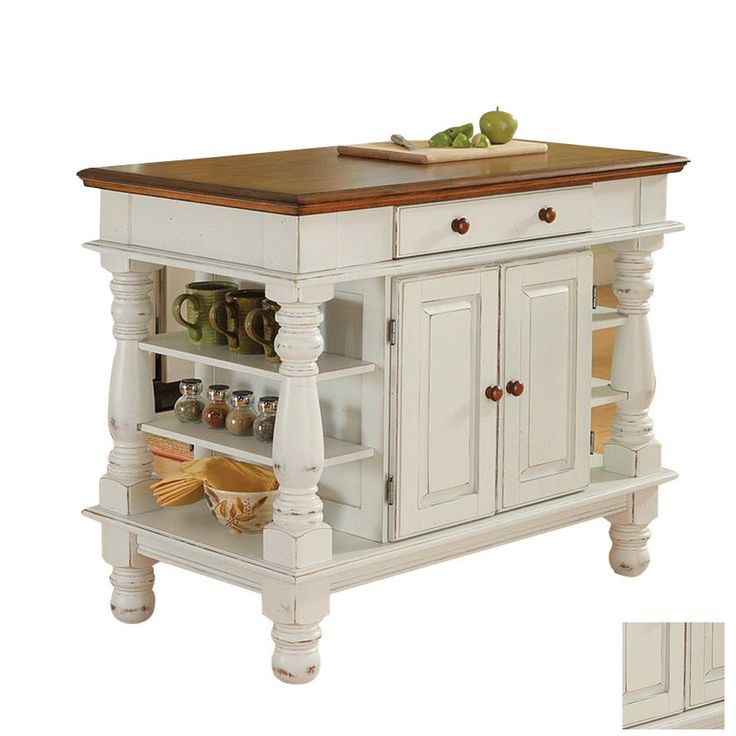 KITCHEN – ISLAND – Shop Home Styles 42-in L x 24-in W - Antique White Kitchen Island Baileys Kitchen