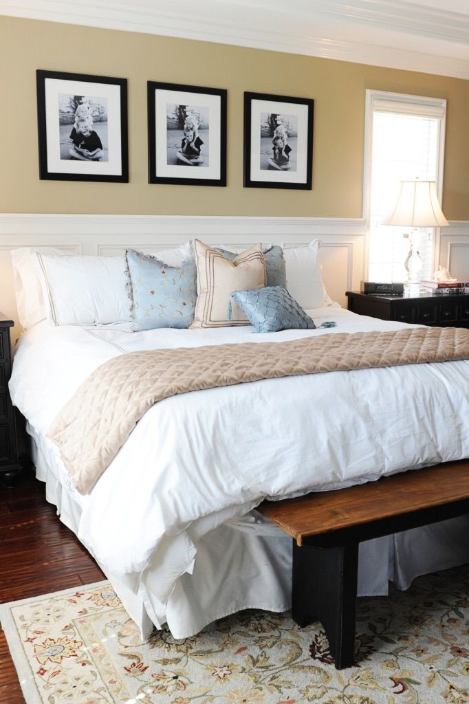 All white bedding not only makes your master bedroom look like a five star retreat, but it also allows for you to make quick and inexpensive changes to your space throughout the years with the addition of new pillows and throws. Sponsored post.