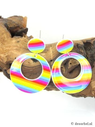 Vrolijk gekleurde ronde kunststof oorbellen (oorclips)