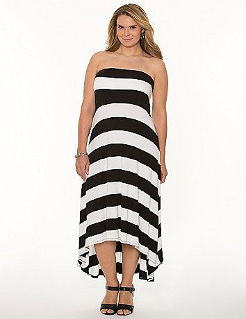 Embrace the season in a soft & sexy maxi dress! Worn as a tube dress or with the optional straps, this maxi hits the high notes of all the hottest trends with dramatic black & white stripes and a high-low hem. #LaneBryant