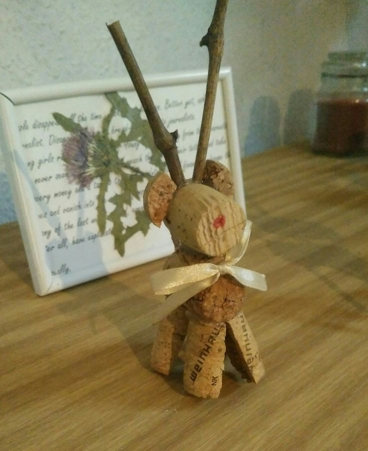 Cork reindeer with a ribbon. Christmas decor.