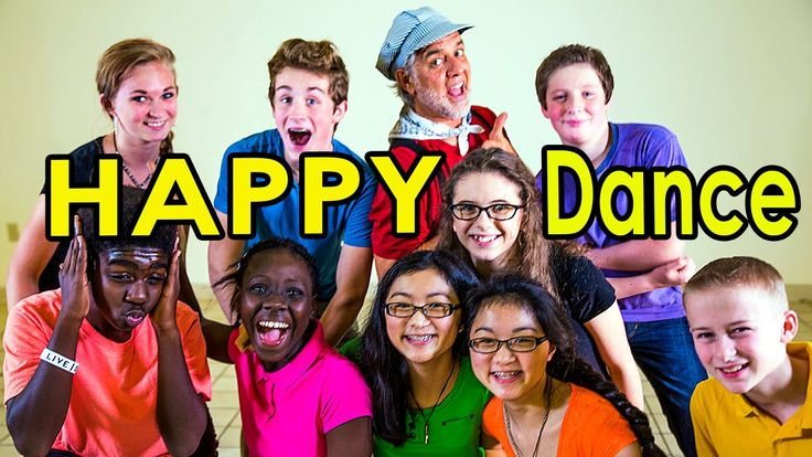 """Let's get HAPPY! Your children will learn the FUN moves to the HIT song, """"Happy Dance"""". Your kids will have a blast with this silly and fun action song! This movement song is great for brain breaks, circle time, group activities or those bad weather days when children can't go outside to play."""