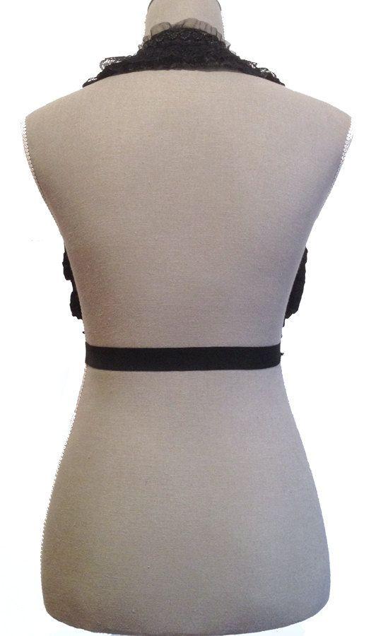 Black Elastic Beaded Lace Underbust/Waist Harness (Back) by Pornoromantic
