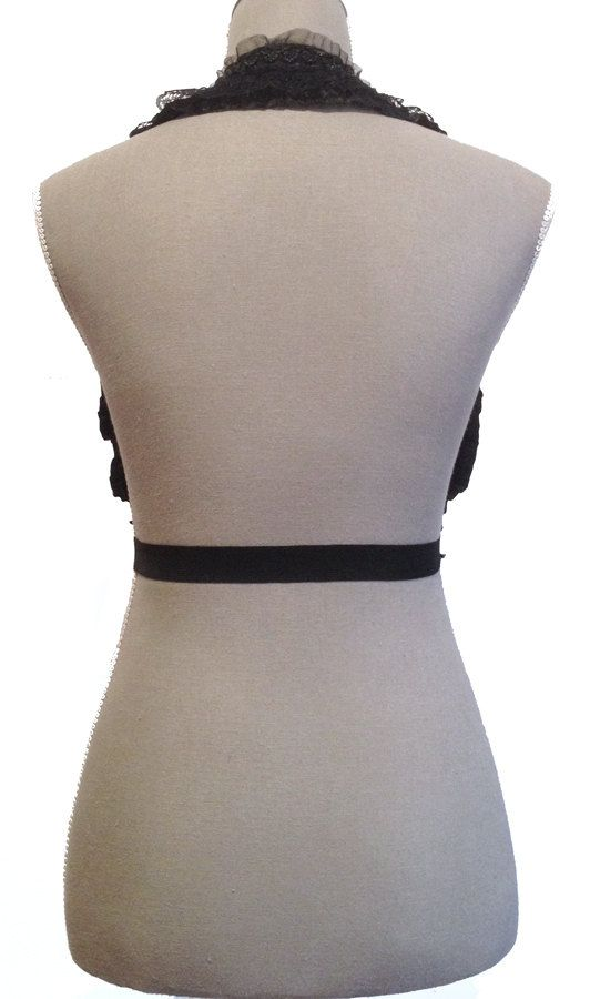 Black Elastic Beaded Lace Underbust/Waist Harness (Back) by Pornoromantic