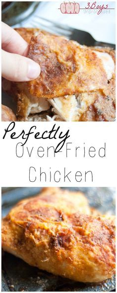 Oven Fried Chicken... All whole ingredients make this chicken crispy and delicious without deep-frying. | www.3boysunprocessed.com