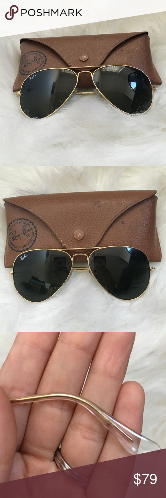 Ray-Bans Aviators Ray-Bans Aviators with leather case. Small defect on foot (pictured) not noticeable. Ray-Ban Accessories Glasses