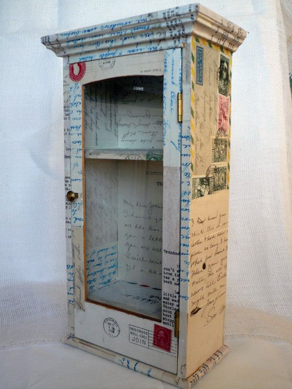 Great idea! Decoupage an old cabinet, or even a side table with vintage pages from a book or old letters. Check your local antique store for supplies!