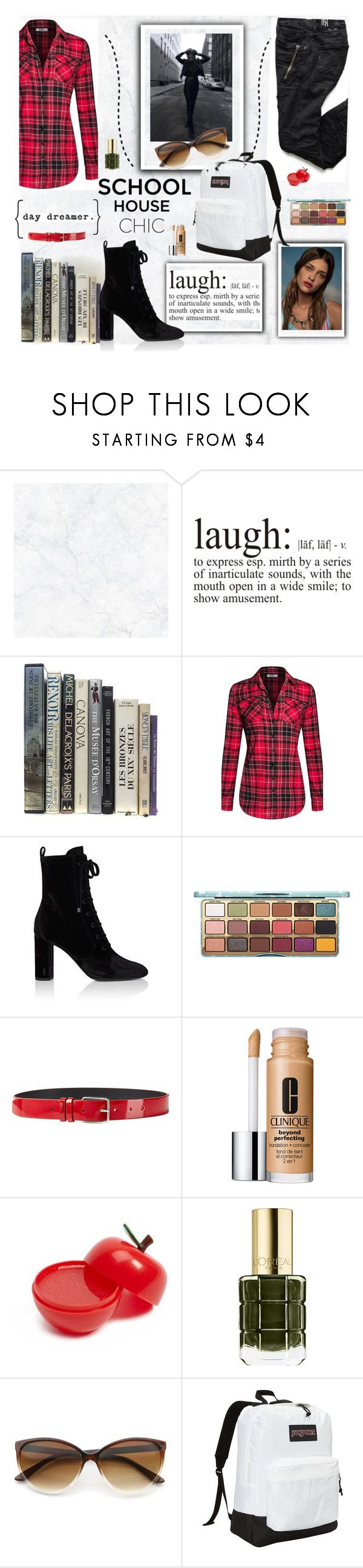 """""""School Of Life"""" by taste-for-life ❤ liked on Polyvore featuring Wall Pops!, WALL, Yves Saint Laurent, Jil Sander, Clinique, Forever 21, L'Oréal Paris, JanSport, contest and polyvorecommunity"""