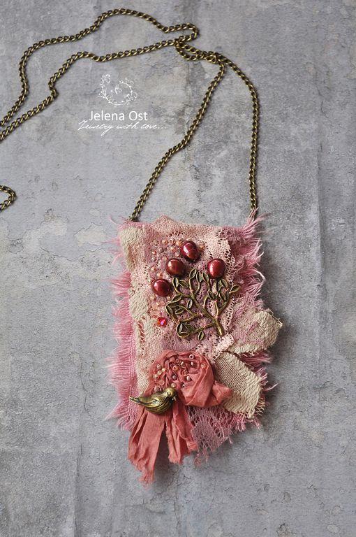 """Купить """"Цветение"""" Кулон на цепочке. - розовый, винтаж, кулон на цепочке, кулон, подвеска, розовый кулон"""