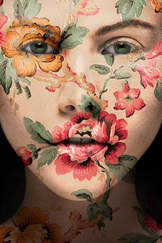 inspired by a Japanese artist who projected floral patterns on a face