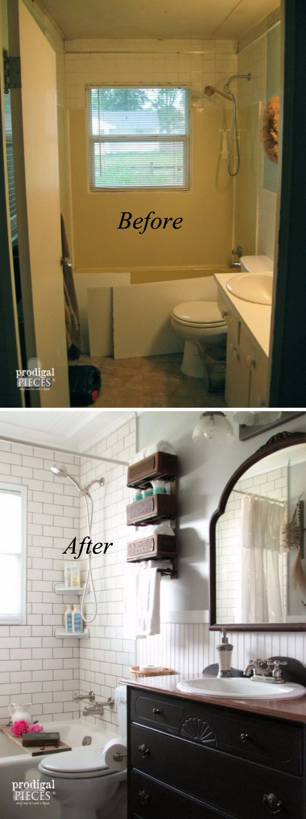 before and after 20 awesome bathroom makeovers bathroom renovationsbathroom remodellingsmall - Small Bathroom Remodel Designs