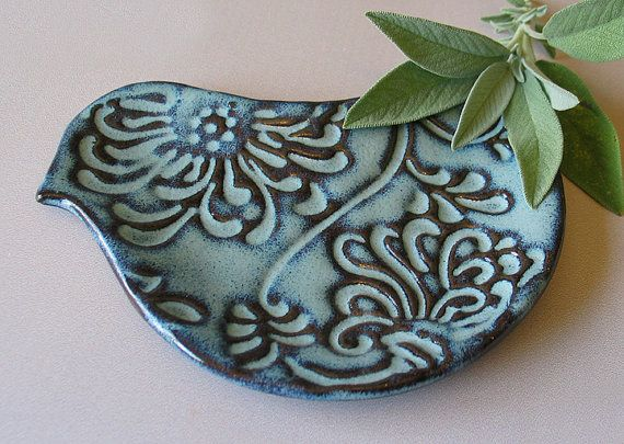 READY TO SHIP - Pottery Bird Plate - Bird Shaped Spoon Rest - Cooking Prep dish - Blue Bird or Rustic White Dove on Etsy, $14.00