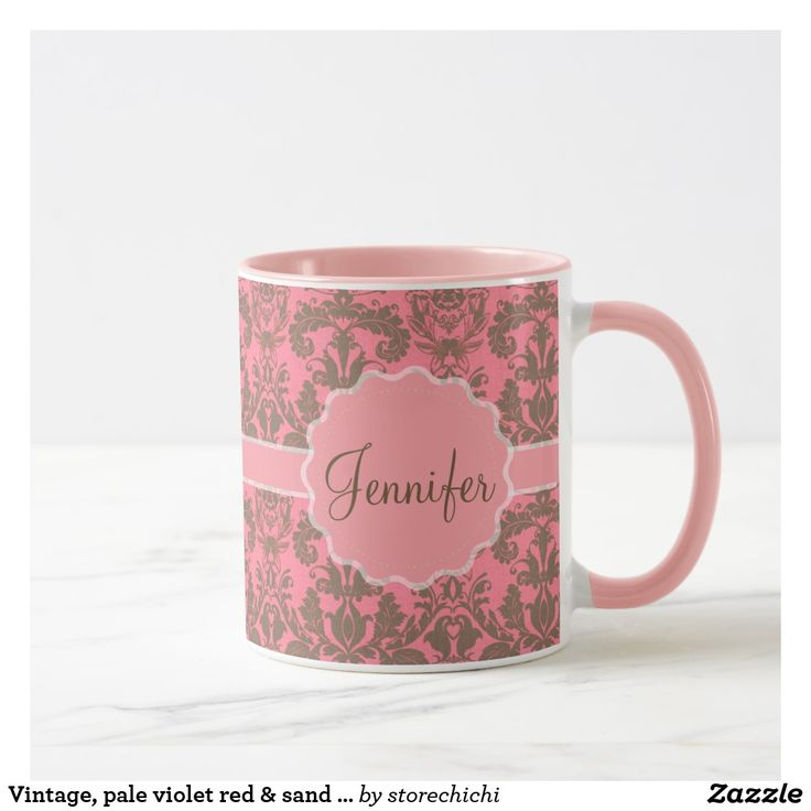 Vintage, pale violet red & sand brown Damask name Mug