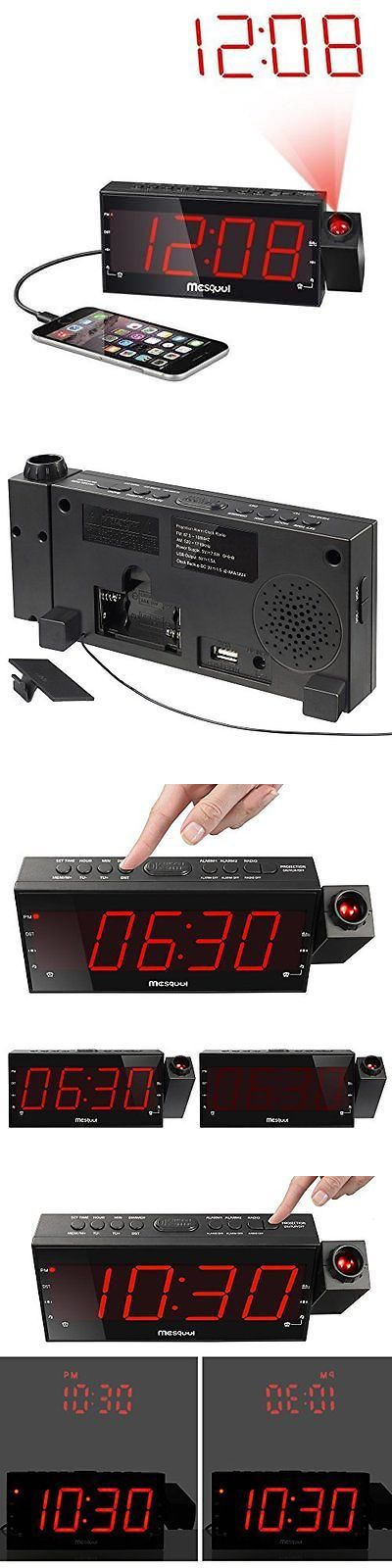 Digital Clocks and Clock Radios: Mesqool Am Fm Digital Dimmable Projection Alarm Clock Radio With 1.8 Led -> BUY IT NOW ONLY: $32.19 on eBay!