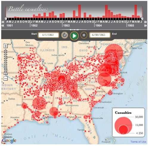 Battles and Casualties of the Civil War map Via The Washington Post