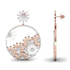 Inspired by the Japanese nature and beauty, these highly stylish chand bali earrings feature floral motifs which are enhanced by enamel work and bright polish. The shimmering diamonds are scattered all over to add more sparkle to the design. Transform your entire look by adorning this one piece itself. It needs no companion.