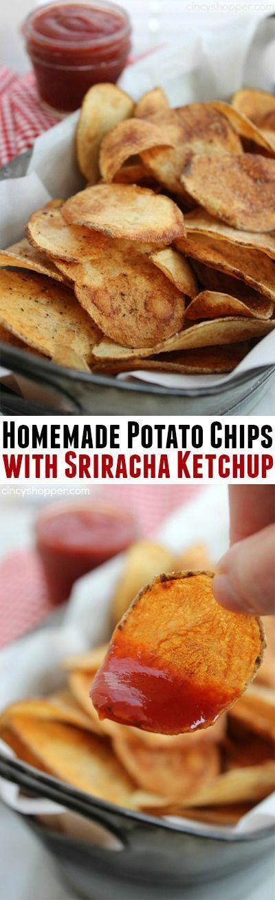 Homemade Potato Chips with Sriracha Ketchup recipe