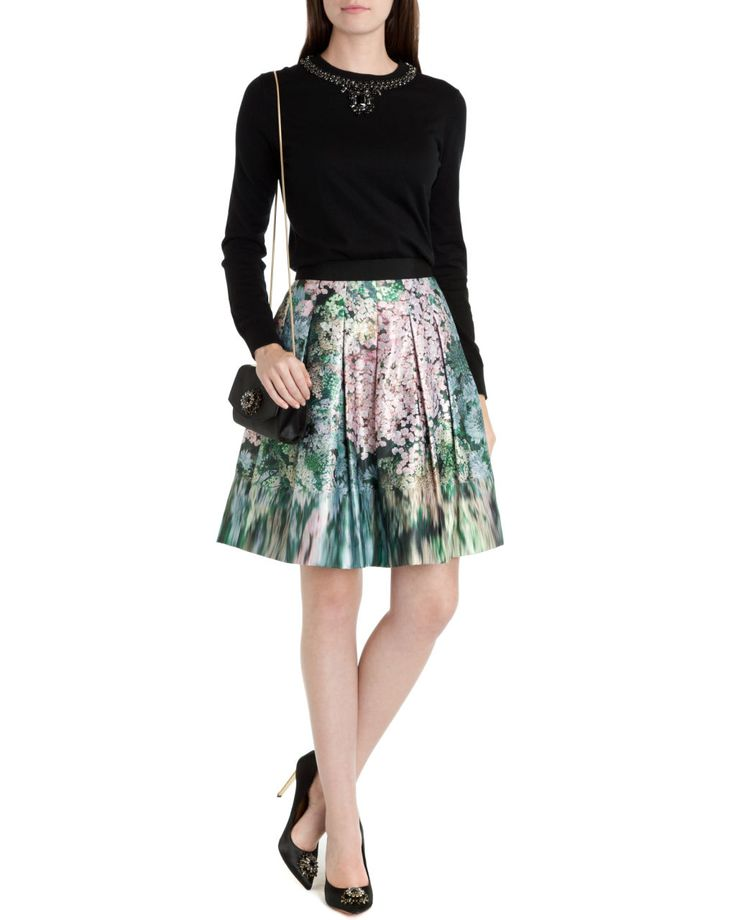 TED BAKER - Glitch floral skirt S14. The blurred borders make it look like an impressionist pattern.