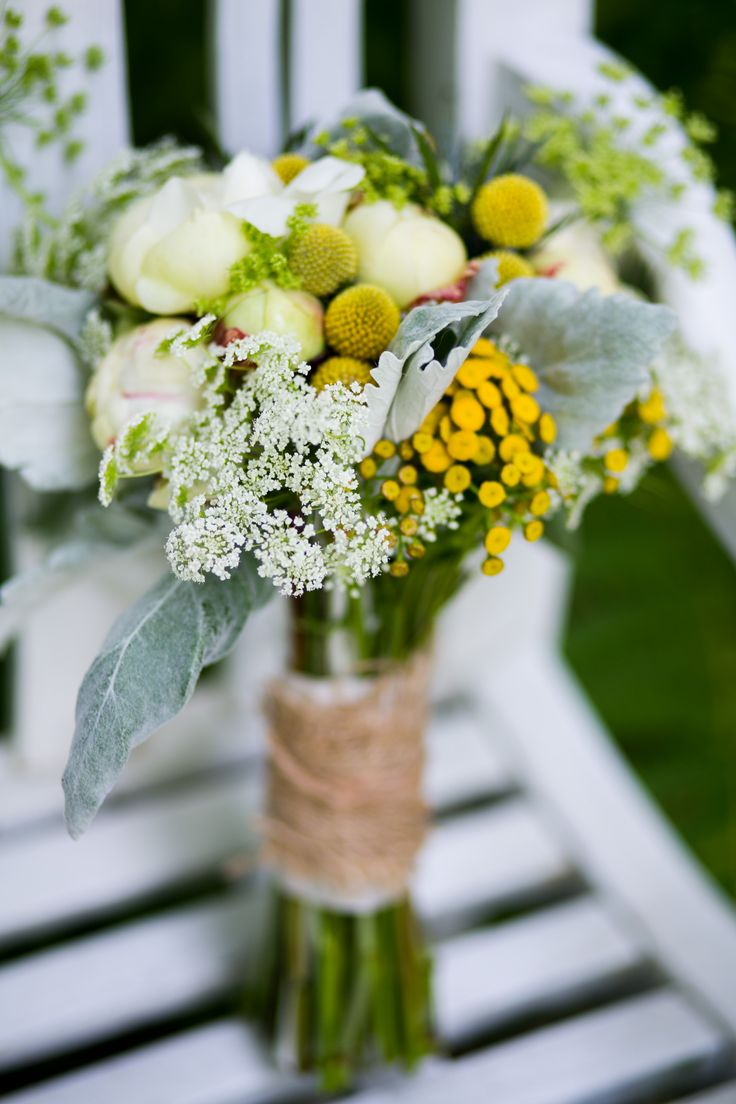 An Organic And Natural Wedding Bouquet Of White Peonies