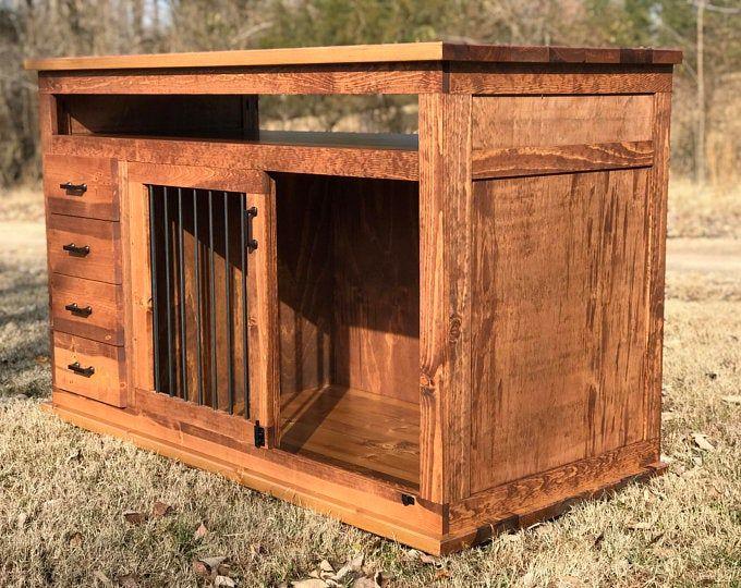 Dog Crate Furniture Pet Furniture Custom Dog House Wood Dog Etsy