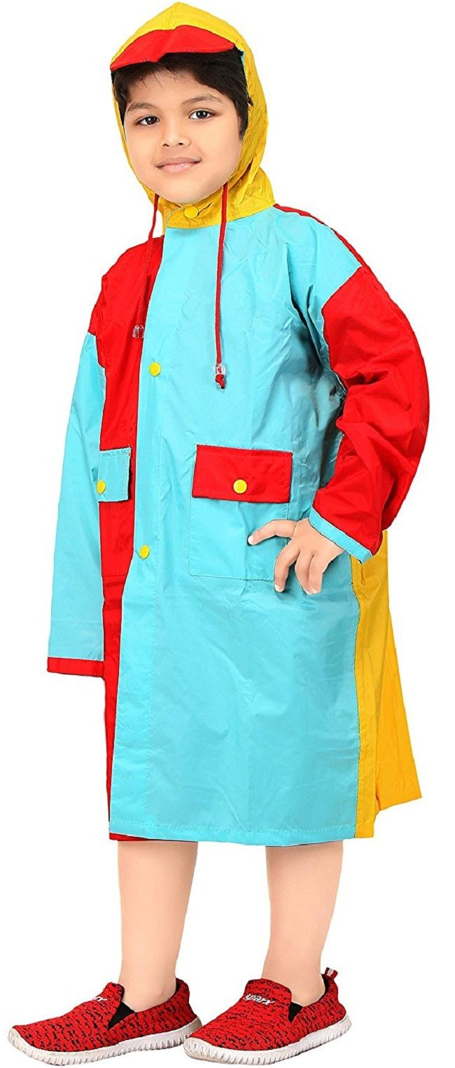 Real Light Blue & Red Solid Hooded Raincoat #Raincoat