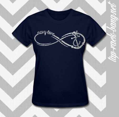 United States Navy Love Infinity - Women's NAVY Glitter Shirt. $19.99, via Etsy.