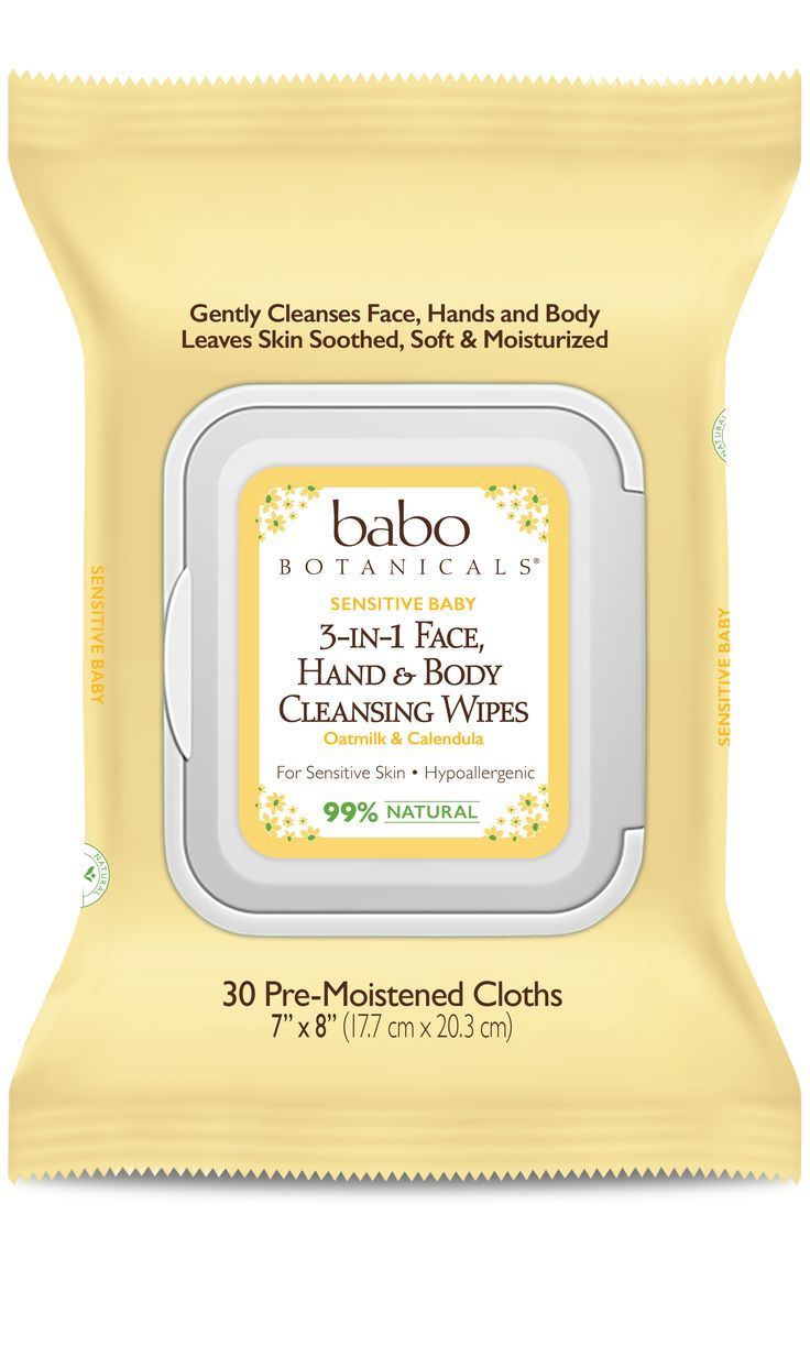 Babo's 3-in-1 Face, Hands & Body Wipes gently cleanse face, hands and body without rinsing, leaving skin soothed, soft and moisturized. These plush wipes are non-drying and perfect for daily use. They are 99% natural, hypoallergenic and gentle enough for babies or anyone with sensitive skin. Contains moisturizing Oat & Calendula & Babo's signature natural scent. These multi-taskers are great for babies, kids, and grown-ups too. Great for use after yoga, post workout, or as a makeup remover.