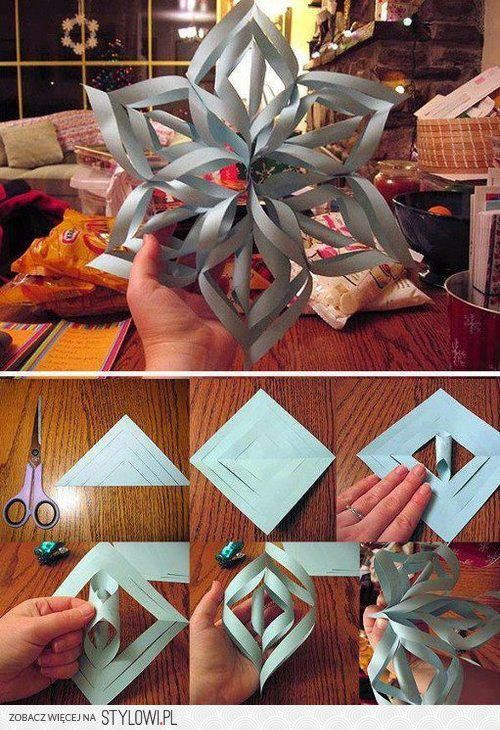 DIY - zrób to sam na Stylowi.pl: Paper Stars, Christmas Crafts, 3D Paper, Idea, 3D Snowflakes, Paper Snowflakes, Christmas Decor, Paper Crafts, Kid