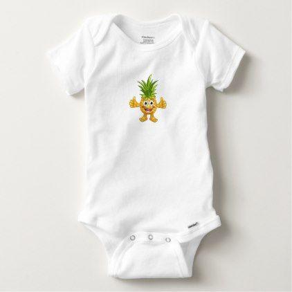 #cute #baby #bodysuits - #Cartoon Pineapple Fruit Mascot Character Baby Onesie
