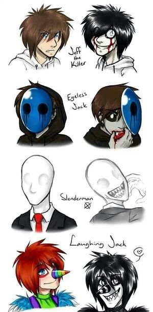the before and after pictures of the creepypastas. I like how eyeless jack is still the same but without the mask.