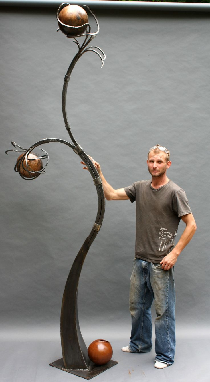 """large abstract forged steel sculpture for CC Golden Harvest,. Steel, found copper leaf, 9' 6"""""""