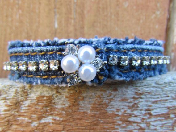 Bracelet Diamonds and Denim Recycled Upcycled Blue Jeans