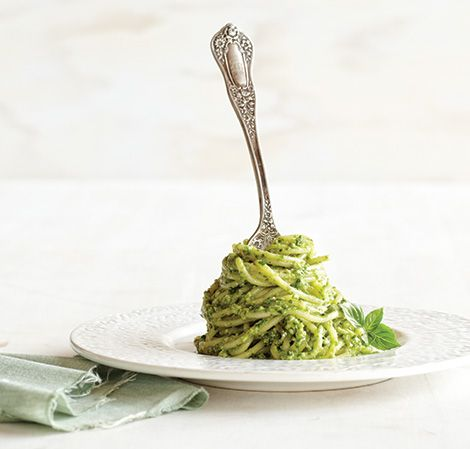 Vitamix Basil Walnut Pesto - easier made in the food processor for sure!  Delicious, though.  I did 1/2 Parmesan and 1/2 pecorino Romano. Yum!