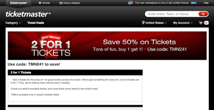 Ticket master coupon code