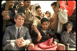 RFK with Cesar Chavez after Chavez's hunger strike.