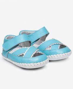 Little Blue Lamb | Quinn | Baby girls sandals Stunning turquoise blue baby sandals.