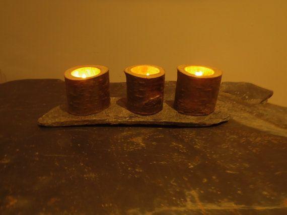 Birch Tea Light Holders on a Schist base by HandMadeinStirling, £20.00