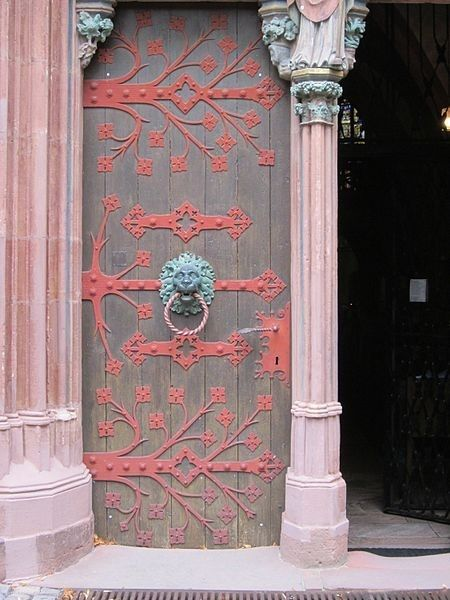 love the dusty pink + coral color details with wood and aged metal // Hesse, Germany door