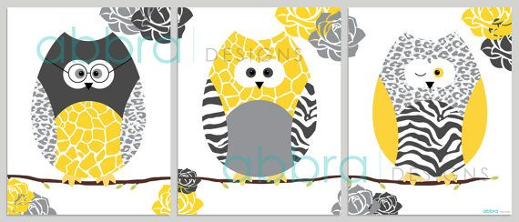 SET OF 3 UNFRAMED PRINTS. These owl prints would make a great addition to any baby nursery, kids room, playroom, bathroom or they would also make a great gift.  This listing includes four high quality unframed prints that are available in: SIZE OPTIONS (available from the drop-down menu) • 5 x 7 inches • 8 x 10 inches • 11 x 14 inches • 12 x 16 inches • If you need a special size just contact me. PRODUCT OPTIONS (available from the drop-down menu) • High quality print on 250gsm photo paper…