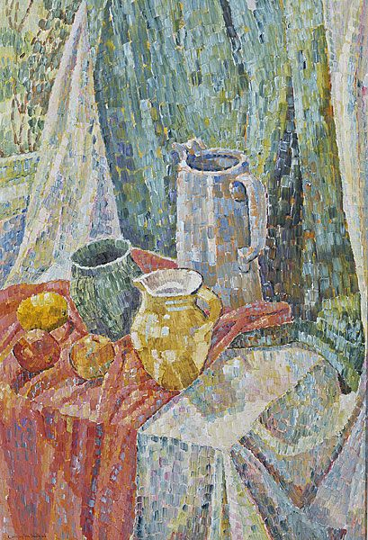 Grace COSSINGTON SMITH | Still life with jugs COSSINGTON SMITH, Grace Australia 1892 – Australia 1984 UK, Europe 1912-14; UK, Italy 1949-51  Still life with jugs 1963 oil on board 78.7 (h) x 53.7 (w) cm Private collection