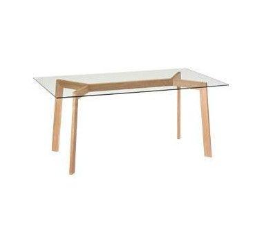 "Mesa ""Y"" 165x90 cms. Atl. 75 cms. Cubierta de Vidrio templado, patas de madera natural"