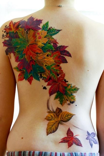 fall leaf foilage tattoo bright color