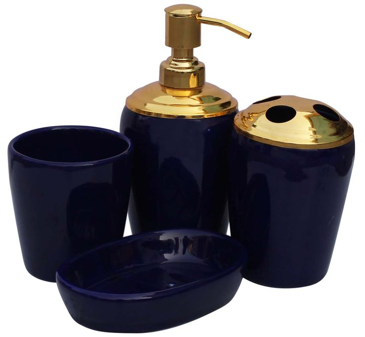 wholesale handmade set of 4 bathroom accessories in cobalt blue metallic golden tone from wholesale distributors in indiadecorative soap dish tumbler - Bathroom Accessories Distributors