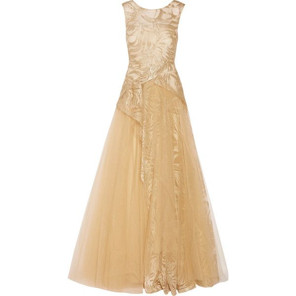 Mikael Aghal Layered embroidered tulle gown ($515) ❤ liked on Polyvore featuring dresses, gowns, gold, loose dress, beige evening dress, tulle gown, embroidered dress and embroidered gown