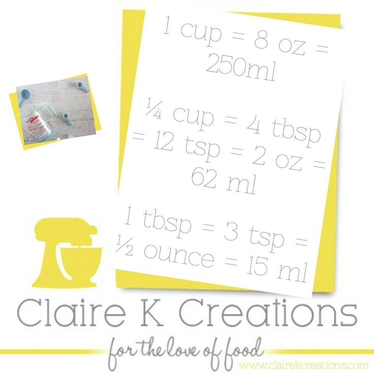Easy conversions in cooking and baking. #tip #cooking #measurement #foodblogger #clairekcreations