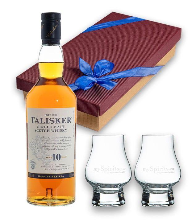 Geschenkset Talisker 10 Jahre Whisky 45,8 % vol. 0,7 l & 2 Nosing-Gläser in Geschenk-Schachtel