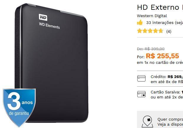 HD Externo Portátil WD Elements Preto 1Tb USB 3.0 << R$ 25555 >>