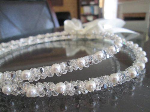 Preciosa Crystal and Swarovski Pearl Stefana with Antique White Satin Ribbon